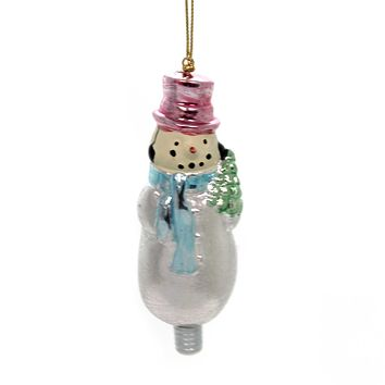 Holiday Ornaments SNOWMAN CHRISTMAS Polyresin Glittered Silver Tree 33333S E