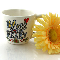 Bless Your Heart teacup with heart shaped interior, tea cup, inspiration, get well soon gift