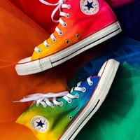 Rainbow Tie Dye Custom Converse High Tops