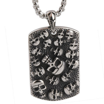 Skull Dog Tag Stainless Steel - Necklace