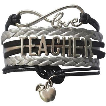 Teacher Infinity Black Bracelet