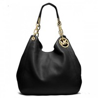 """Michael Kors"" Simple Fashion Solid Color Metal Chain Single Shoulder Bag MK Women Casual Temperament Large Handbag"