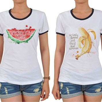 Summer Fruit Quote Graphic Printed Short Sleeves T-shirt WTS_06