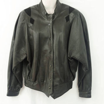 Etienne Aigner Vintage Black Leather Jacket Size Small