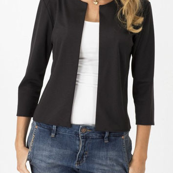 Jewel Neck Open Front Jacket