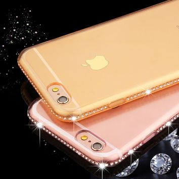 Phone Cases For iphone 6 6s 7 Plus Case Luxury Bling Diamond Rhinestone Sparkle Drill Frame Ultra Thin Soft TPU Back Cover Funda