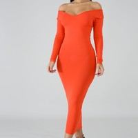 Coral Basic Knit Bodycon Midi Dress