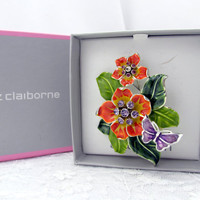 Liz Claiborne Floral Brooch Signed Vintage New In Original Box Bright Orange Green Lavender Rhinestones Collectible Gift Item 2344