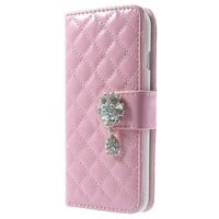 IPHONE 6 / 6S RHOMBUS WALLET LEATHER CASE - PINK