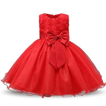 Red Flower Girl Dress For Evening Prom Party Costume Teenage Girls Kids Clothes Wedding Christening Gown Little Girl Red Clothes