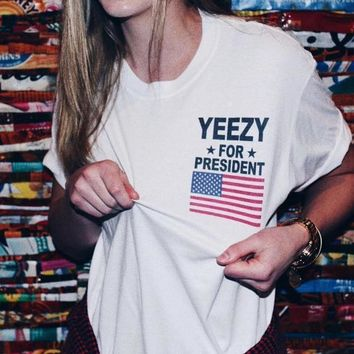 Cute Womens White Yeezy T-Shirt