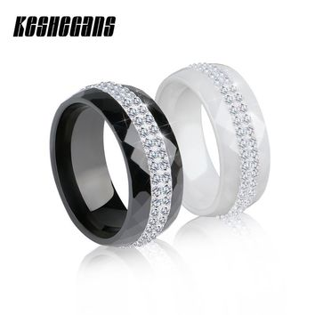 New Arrival Ceramic Ring Multi-faceted Black White Color With 2 Row Rhinestone For Women Exquisite Fashion Jewelry Wedding Gifts