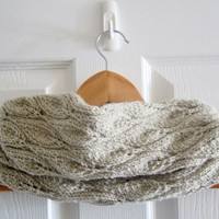 Light Beige Cowl - Knit Cowl - Brown Cowl - Acrylic Cowl - Lace Knit Cowl - Hand Knit Cowl - Circle Scarf - Neckwarmer - Knit Neck Warmer