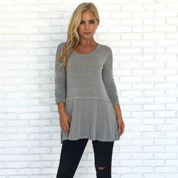 Change It Up Knit Sweater Top In Grey
