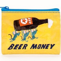 Zippered Beer Money Coin Purse in Yellow and Blue