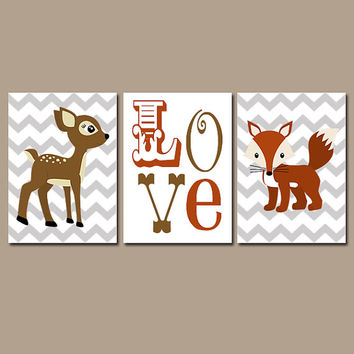 DEER FOX Wall Art Nursery Canvas Artwork Woodland Girl Boy LOVE Quote Chevron Pattern Set of 3 Trio Prints Baby Bedding Crib Decor Three