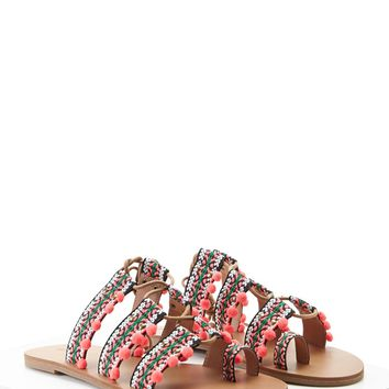 Tribal Print Toe Ring Sandals