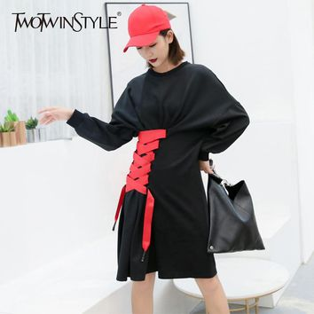 TWOTWINSTYLE A Line Dresses For Women High Waist Batwing Long Sleeve Patchwork Bandage Dress Female 2018 Autumn Fashion Clothing