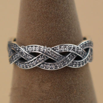 6 Braided Rings with CZ Compatible with Pandora ring Jewelry Size #6-9 Newest 100% 925 Sterling Silver European Women style R12027