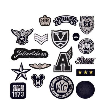 Black White Star Crown Wing Patches Iron On Or Sew Fabric Sticker For Clothes Badge Embroidered Appliques DIY