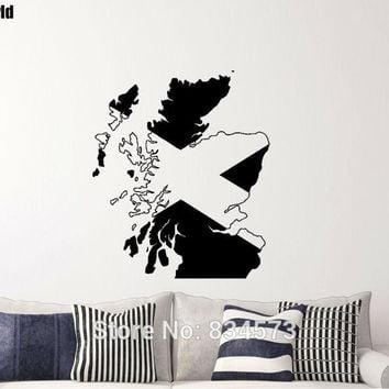 Mad World-Map / Flag of Scotland Scottish Wall Art Decal