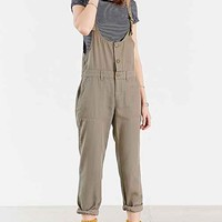 BDG Linen Three-Button Buckle Overall- Olive