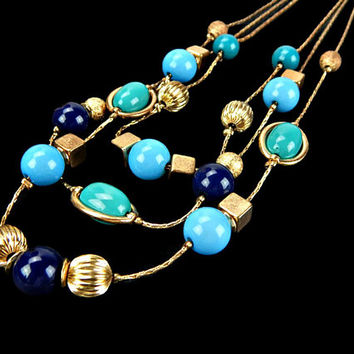 Multi Strand Bead and Chain Necklace in Turquoise Navy Blue and Gold Tone Cubes