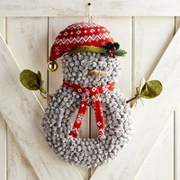 Pinecone Snowman Door Decor & Wreath