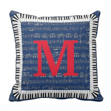 "Piano Music Note Monogram Throw Pillow 16"" x 16"""