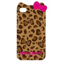 Sanrio Hello Kitty Character TPU Cover for iPhone 4S/4 with Ears -Leopard/Brown