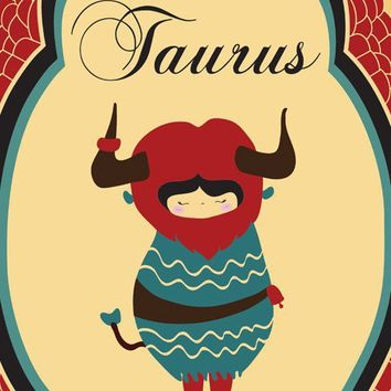 TAURUS Zodiac Sign / Indie Art, Original Drawings, Astrological Print, Taurus Constellation