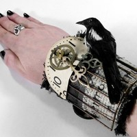 Steampunk Cuff  HARDCORE GOTHIC Wrist Cuff  Black by edmdesigns