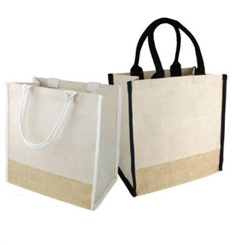 Stylish Jute Blend Burlap Tote Bag with Full Gusset - TJ912