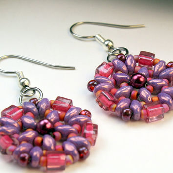 Pink and purple bead woven earrings, handmade, super duo and seed beads, dangle or drop earrings