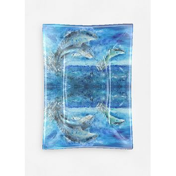 Nice Gift Idea New Free Shipping Multi-blue Layered Glass Dolphin