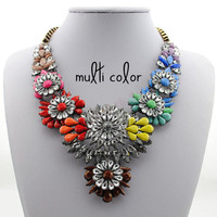 Shourouk Inspired Fashion Floral Wing Shape Statement Necklace, Bib Necklace 4 Colors to Choose From