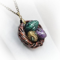 Nest pendant with dragon eggs, Game of Thrones inspired dragon nest necklace, fantasy jewelry