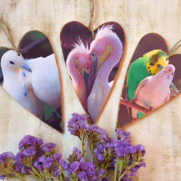 Heart ornament Birds Valentine decor wall handing decoration Wedding favors Wooden heart Valentines day gift couple Love Rustic Set of 3