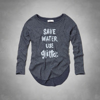 save water use glitter graphic snit tee