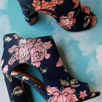 Qupid Floral Fabric Cutout Peep Toe Chunky Heel Booties