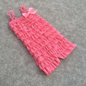One left,Toddler romper,Size 3T, 4T,girls romper,baby girl clothes,birthday outfit,birthday girl,toddler romper,baby girl,coral,pink