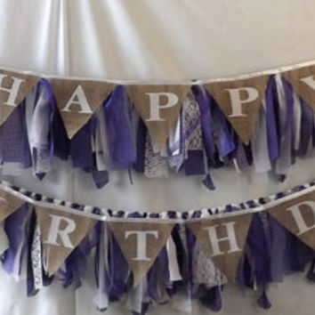 Custom Party Banner Set, Tattered Garland with Burlap Pennant Bunting, Happy Birthday Banner, Wedding or Graduation Congratulations