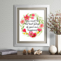 Jane Austen, Emma, Jane Austen Quote, Floral Art Print Quotes, Floral Rose Wreath Wall Art, Literature Quotes, Happiness Wall Quote, Digital
