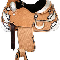 Saddles Tack Horse Supplies - ChickSaddlery.com Showman Silver Show Saddle With Basketweave Tool and Black Inlay