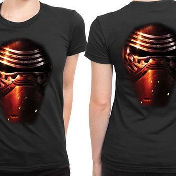 ESBH9S Star Wars The Force Awakens Kylo Ren Mask Effect 2 Sided Womens T Shirt