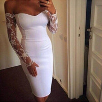 Fashion lace stitching dress