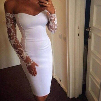 Sexy lace stitching dress