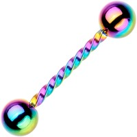 "14 Gauge 5/8"" Rainbow IP Seriously Twisted Barbell Tongue Ring"
