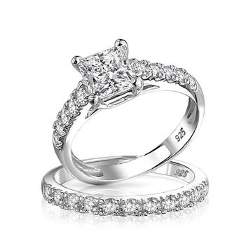 1CT Princess Cut Solitaire AAA CZ Engagement Ring Set Sterling Silver