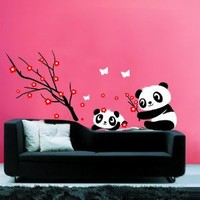 Removable Vinyl Kids Wall Decal Wall Sticker Peel and Stick -Pandas and Flowers